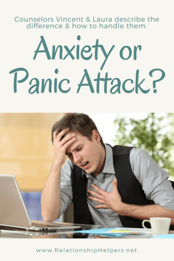 Tired of all of the worry? Having anxiety and/or panic attacks? Not sure of the difference? Learn the difference and how you and your loved ones can cope with anxiety and panic attacks from Relationship Helpers, licensed professional counselors Vincent and Laura Ketchie.