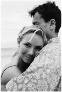 Couple Hugging at Beach ca. 2000