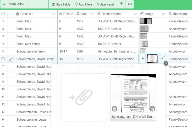 Airtable Spreadsheets for Genealogy