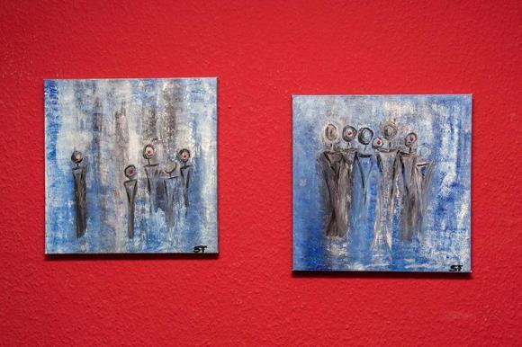 Gruppe gemalt auf Leinwand