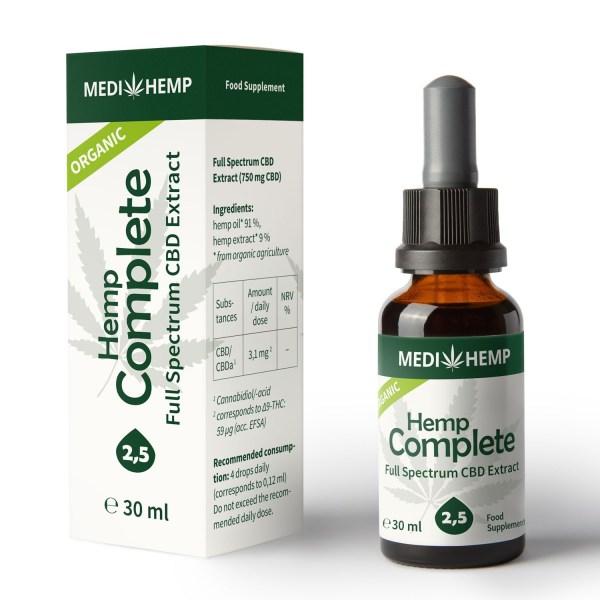 Poza cutie si sticla Ulei CBD Organic Complete 2,5%, 30ml
