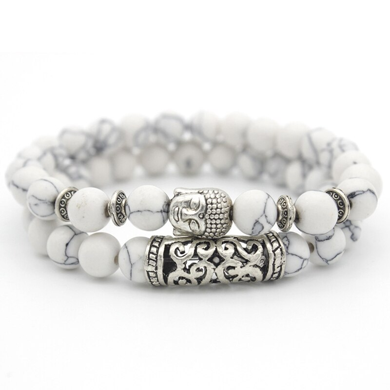 Bracelet Bouddha Double Protection en Howlite Naturelle