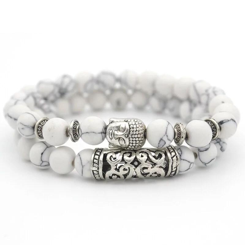 Bracelet Bouddha Double Protection en Howlite Naturelle