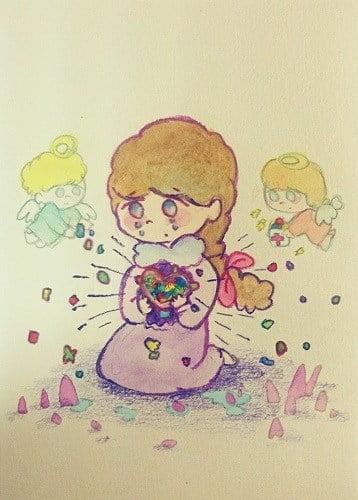 天使と一緒に泣いている女の子のイラスト