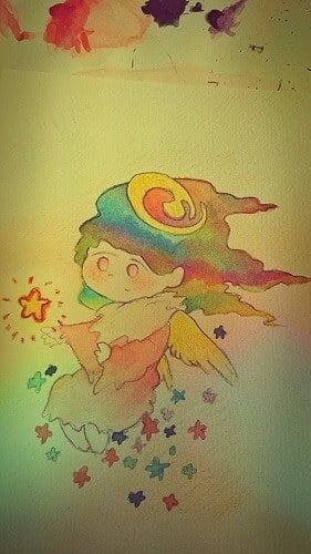 魔法のホウキに乗る魔女のイラスト