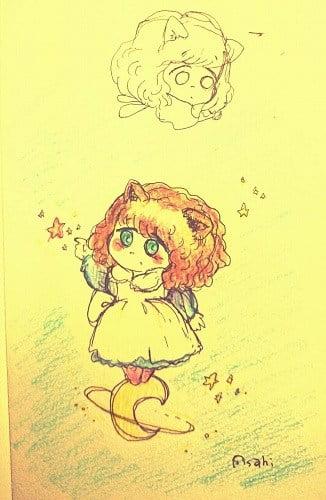 星に乗る女の子のイラスト