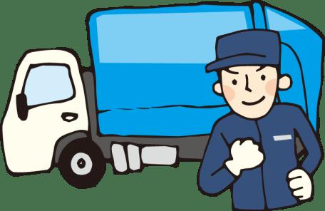 ゴミ収集車と作業員のイラスト