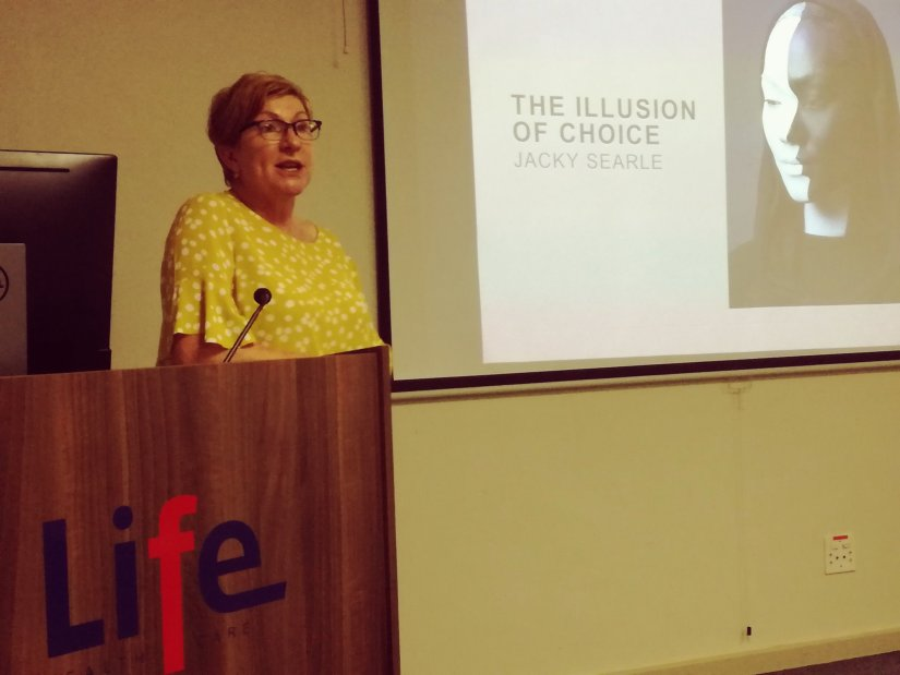 Dr Jacky Searle presenting a talk on choices in the birthing landscape