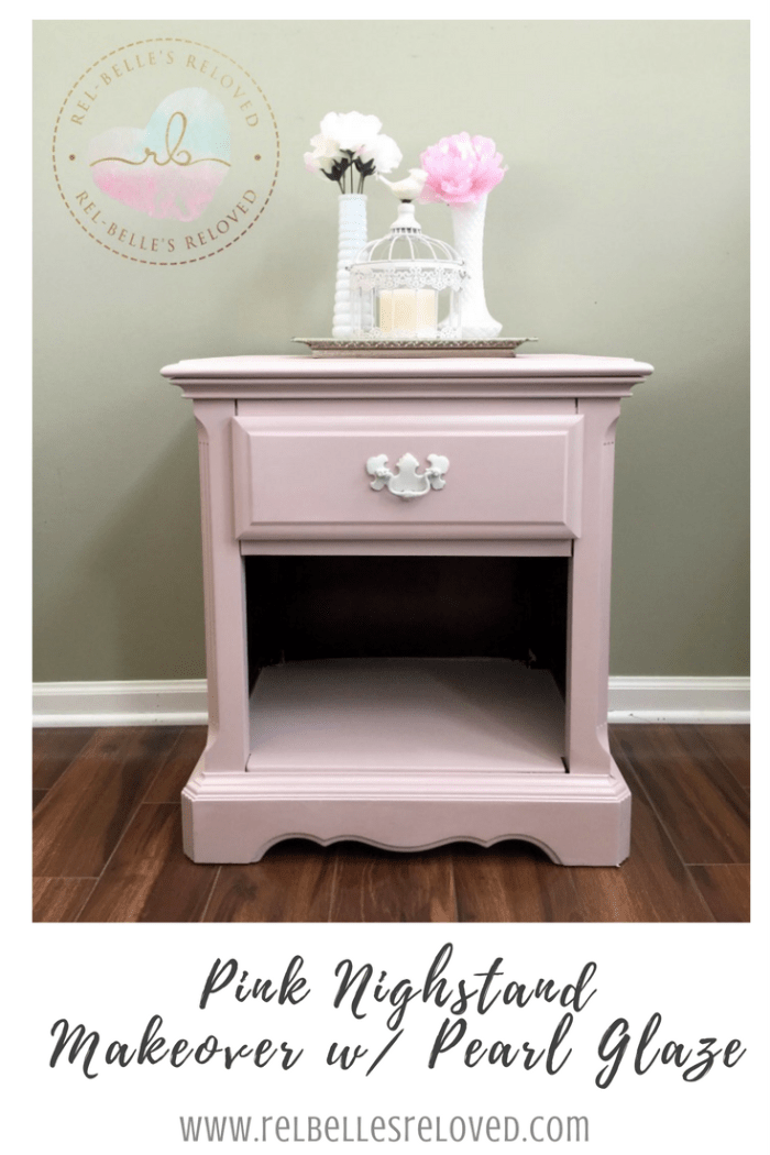 A pink nighstand makeover in tea rose, a pretty pink, and a pearl glaze using Rethunk Junk Paint by Laura.