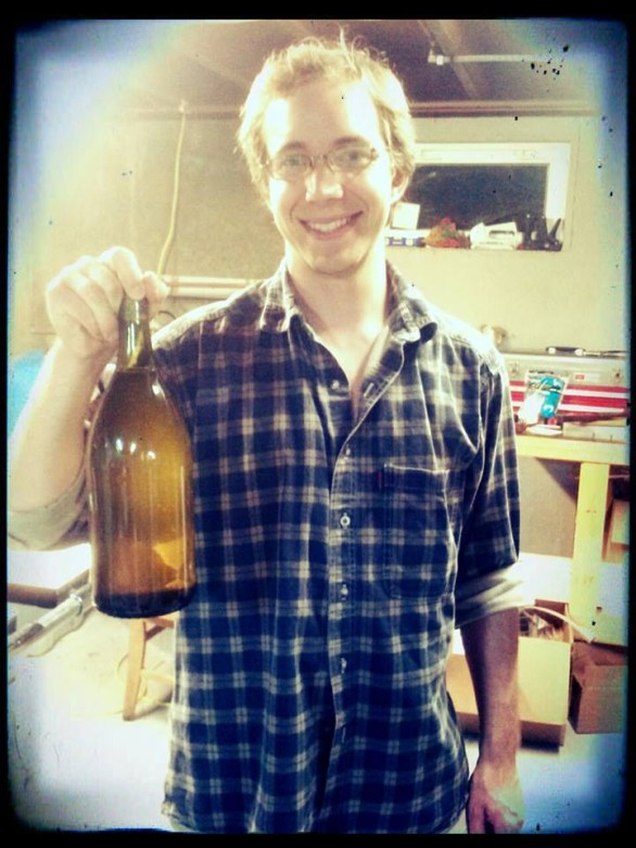 Matt bottling Battlecat Mead