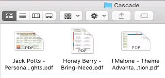 Cascade folder of PDF files