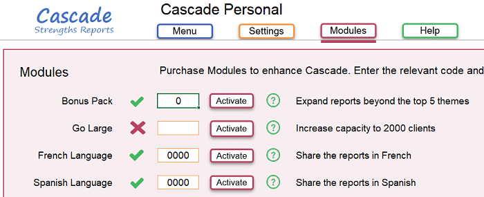 Cascade Strengths add new language for reports
