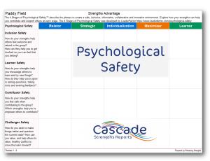 Psychological Safety Strengths Advantage in Cascade