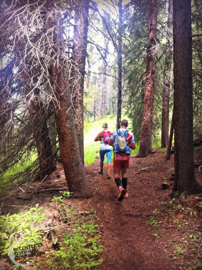 running through the beautiful woods