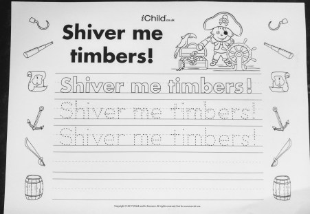 ichild Pirate handwriting sheets