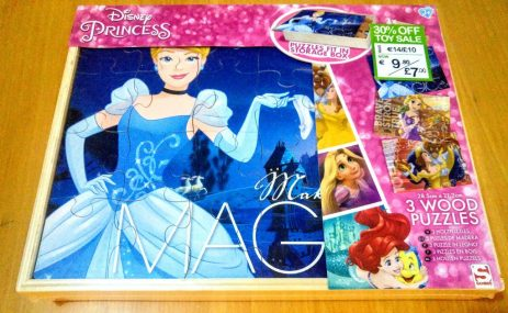 Disney Princess 3 pack Wooden Puzzles & Storage box