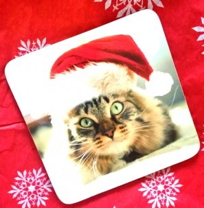 Cat in Santa Hat Coaster