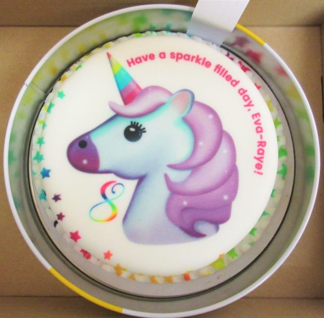 Bakerdays Unicorn Emoji Letterbox birthday cake