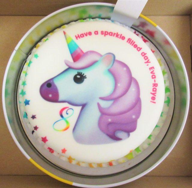 Bakerdays Unicorn Emoji Letterbox birthday cake