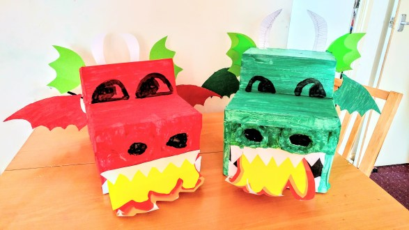 Red and Green Cardboard Box Dragons