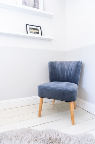 Grey Velvet Oyster Chair