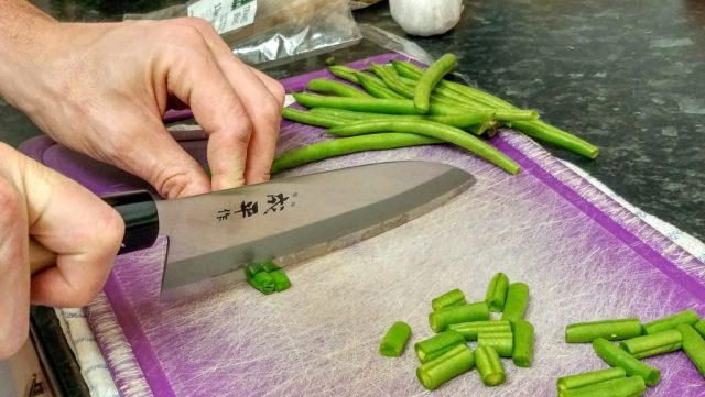 Cutting vegetables with a Japanese Banno Knife