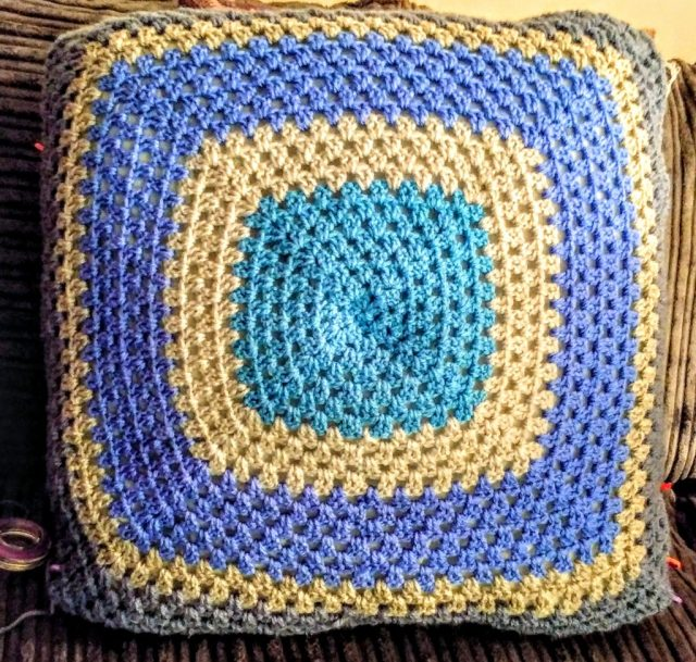 Blue and Grey Granny Square Cushion