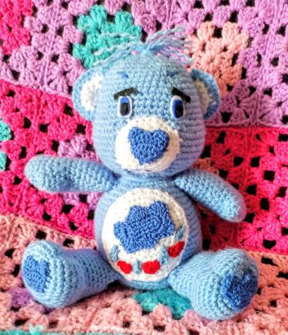 Crocheted Grumpy care Bear