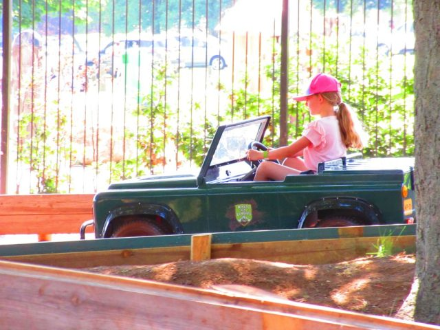 Driving Mini Landrovers at Wicksteed Park