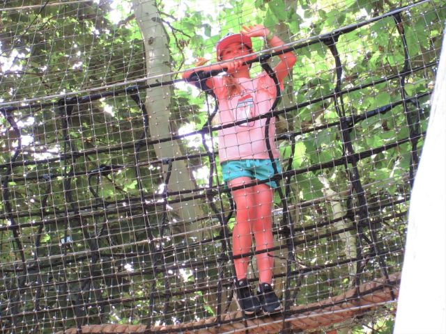Eva enjoying the tree top walk at Wicksteed Park