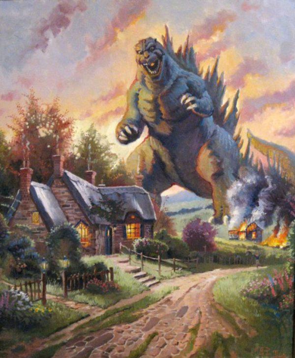 The Thomas Kinkade/Godzilla Mashup You Knew Was Coming Is Finally Here