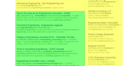 "In this example of a Google search engine listing for ""engineering consulting"" the paid search listings are in yellow and the natural search listings are in green."