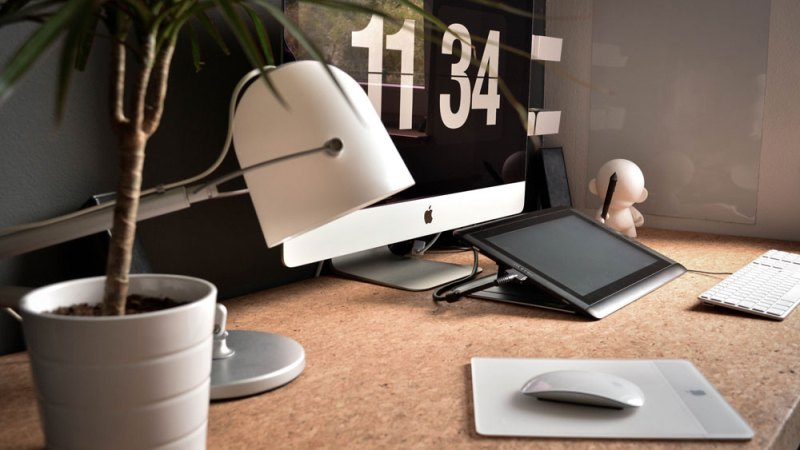 Office space with a Mac computer in 2020