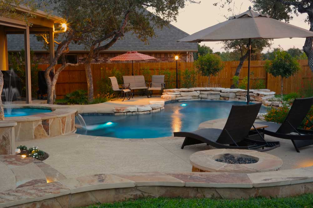 Gallery - Austin Pool Builders   Reliant Pools Austin's ... on Patio Ideas Around Pool id=60268