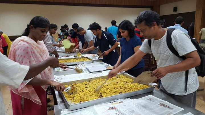 Volunteers packing food at releif centre by Bhoomka Trust on Dec 08