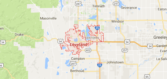 Map of Loveland, Colorado