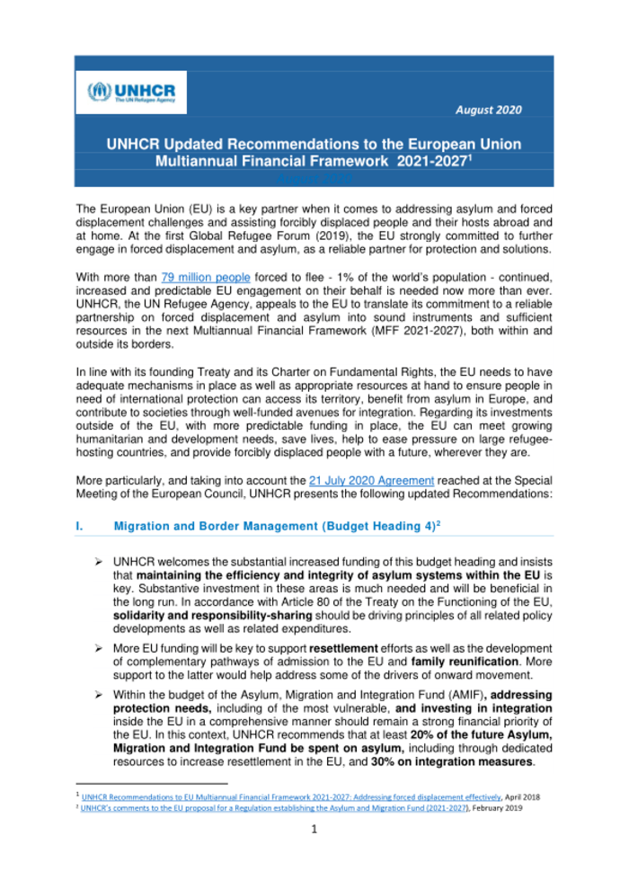 World: UNHCR updated recommendations to the European Union Multiannual Financial Framework 2021-2027 (August 2020)