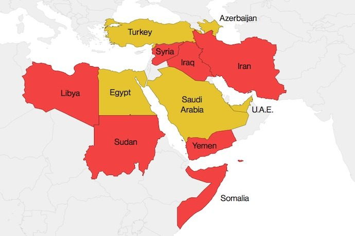 Countries in red are listed in Trump's proposed executive order. Countries in yellow are areas where Trump has done business or pursued deals. Image: Bloomberg.
