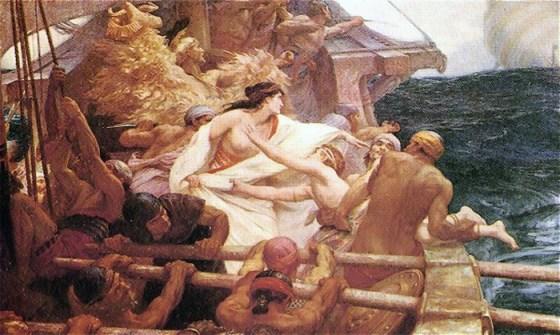 Jason med det gyldne skinn, Medea og argonautene. Av Herbert James Draper - Wikimedia Commons.