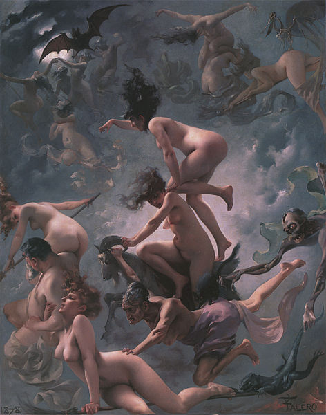 """""""Hekser på vei til sabbaten"""" (1878) avLuis Ricardo Falero. Illustrasjon: Wikimedia Commons."""