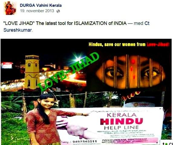 Skjermdump fra DURGA Vahini Keralas facebookside.