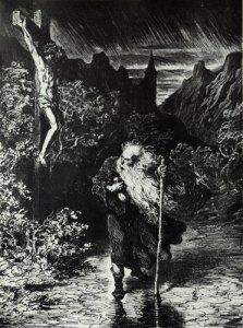 Slik forestilte Gustave Doré seg at den evige jøde så ut. Kilde: Wikimedia Commons.
