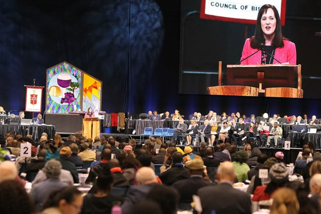 Jessica LaGrone, a member of the Commission on a Way Forward, presents the Traditional Plan during the special session of the United Methodist Church General Conference in St. Louis on Feb. 24, 2019. RNS photo by Kit Doyle