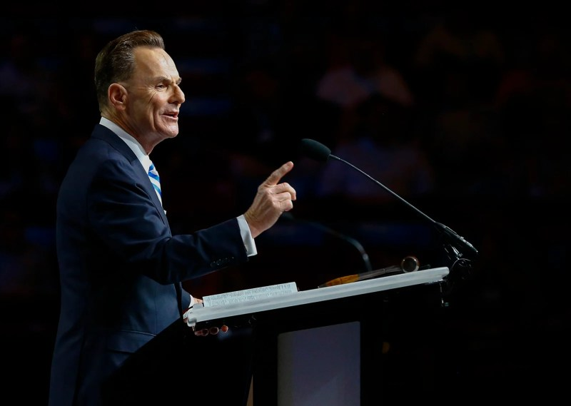 Southern Baptist Convention President of the Executive Committee Ronnie Floyd speaks during the annual meeting of the Southern Baptist Convention at the BJCC in Birmingham, Ala. on June 11, 2019.RNS Photo by Butch Dill.