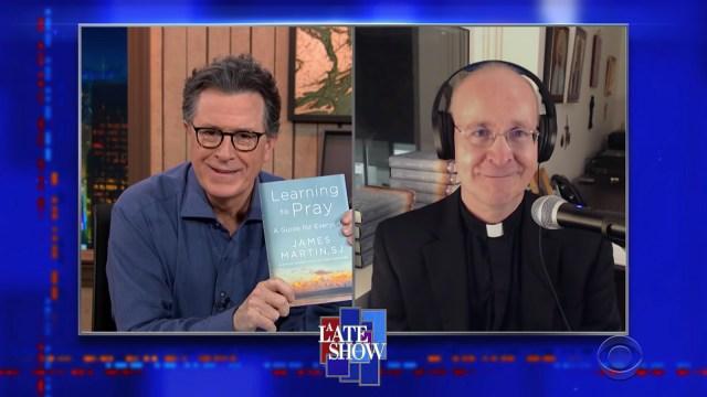 "Stephen Colbert, left, interviews the Rev. James Martin, Feb. 3, 2021, on ""A Late Show with Stephen Colbert"" on CBS. Video screengrab via CBS"