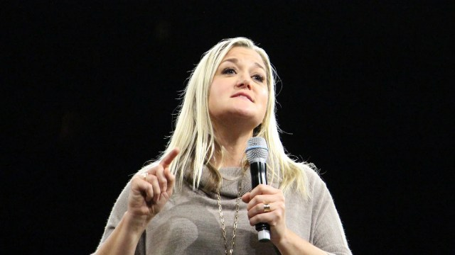 Bestselling author Shauna Niequist speaks on Oct. 21, 2016, at the Belong Tour stop at the Xcel Energy Center in St. Paul, Minn. RNS photo by Emily McFarlan Miller
