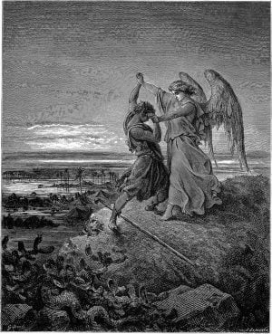"""""""Jacob Wrestling with the Angel"""" (1855) by Gustave Doré. Image courtesy of Creative Commons"""