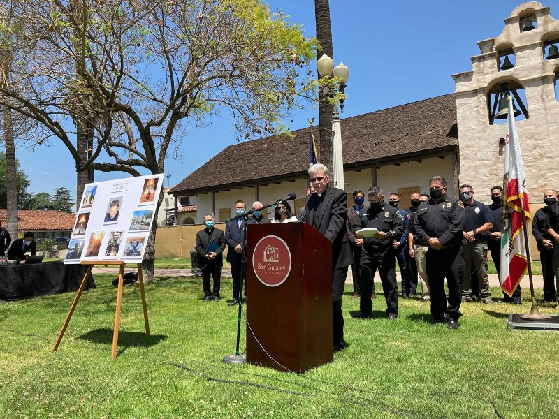 "The Rev. John Molyneux, pastor of San Gabriel Mission, said the parish community had been ""rocked by this incident,"" during a press conference Tuesday, May 4, 2021, in San Gabriel, California. RNS photo by Alejandra Molina"