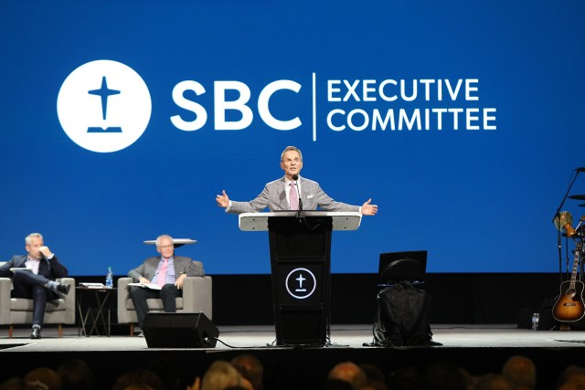 The Rev. Ronnie Floyd, president of the SBC Executive Committee, addresses the annual meeting June 15, 2021, in Nashville, Tennessee. RNS photo by Kit Doyle