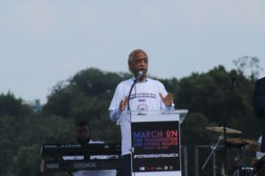 The Rev. Al Sharpton speaks at March On for Voting Rights rally on August 28, 2021. RNS photo by Adelle M. Banks